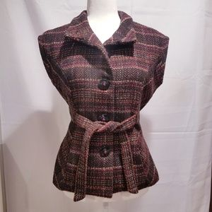 cAbi Cinch It Up Brown Plaid Tweed Vest Size Small